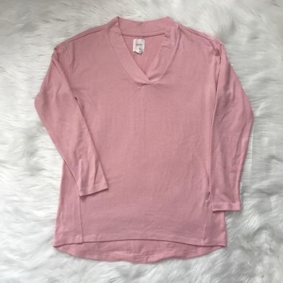 Alfani Pink V-Neck Long Sleeve Knit Pajama Shirt Top Sleepwear Women/'s XS,XL